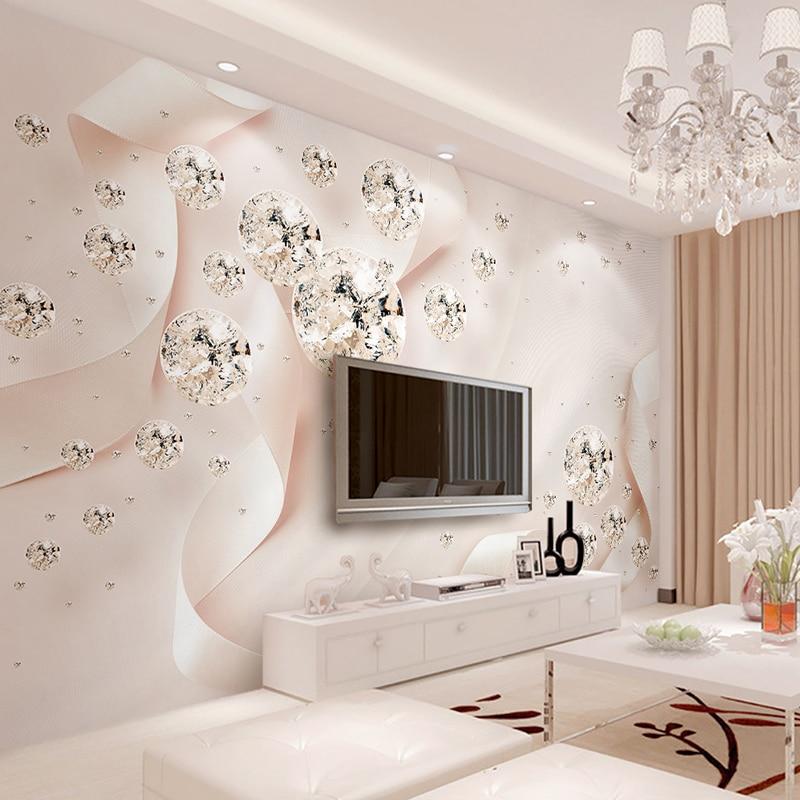 Custom Photo Wallpaper Modern 3D Creative Pink Ribbon Silk Wall Painting Diamond Jewelry Wall Decor Wallpaper For Bedroom Walls