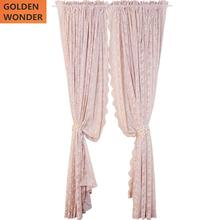 American Style Retro Beautiful Lace Curtain 2 Pieces Partition Decoration Coffee Tulle Roses Curtains