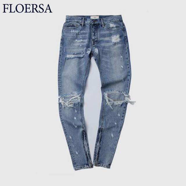 FLOERSA Spring Summer Jeans Men Fashion Hole Ripped Jeans Trousers Blue Straight Casual Men Jeans Homme High Quality#S022-45