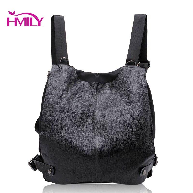 ФОТО Women Genuine Cowhide Leather Backpack Famous Brand Women Shoulder Bags Multifunction Girls School Bag