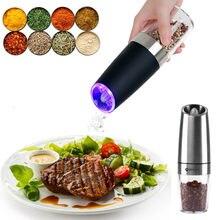 Moulin à poivre électrique automatique, à sel et à épices, à herbes, avec lumière LED, gadget de barbecue, outils de cuisine