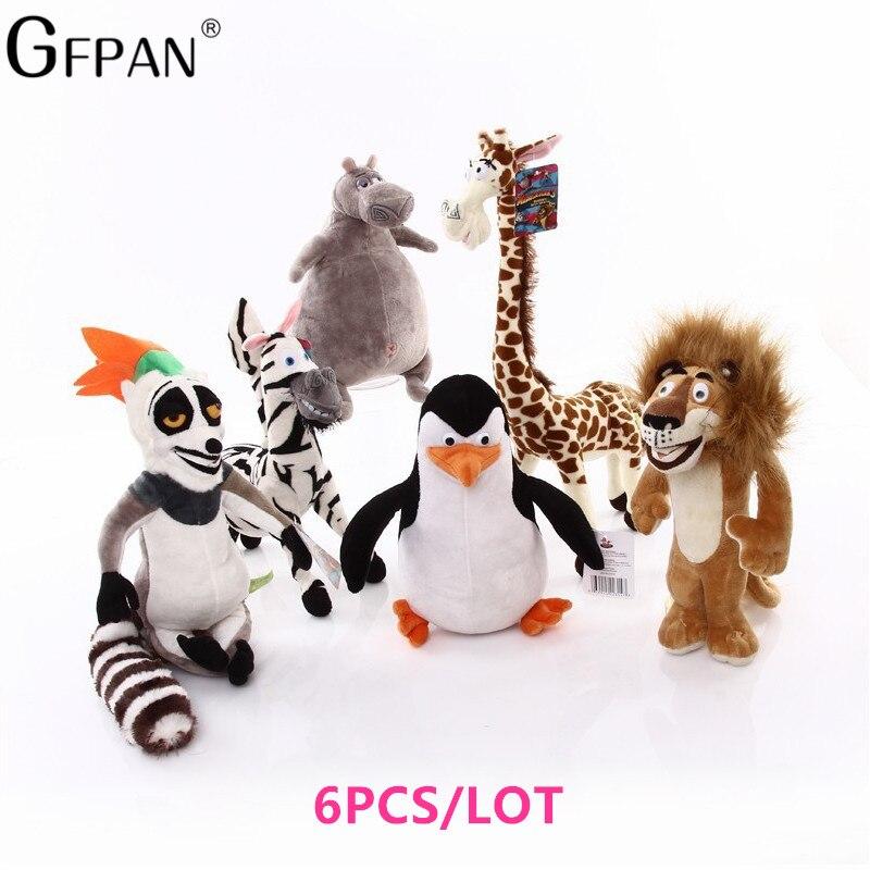 New 20-35cm 6 Styles Madagascar Plush Toy Stuffed Soft Animal Dolls Giraffe Hippo Lion Penguin Zebra Lemurs Figure Gift For Kids