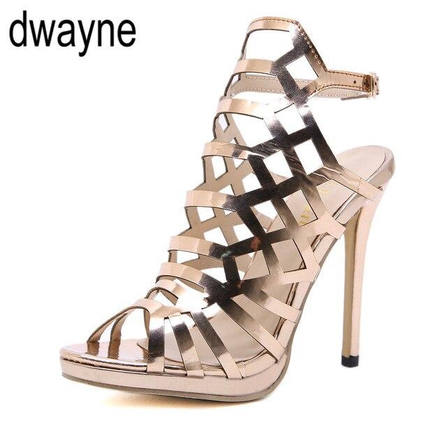 diseño novedoso super calidad tecnicas modernas Nuevo diseño abierto ToeThin tacones gladiador para mujeres sandalias  champán moda hebilla espalda Correa señoras zapatos ghn89