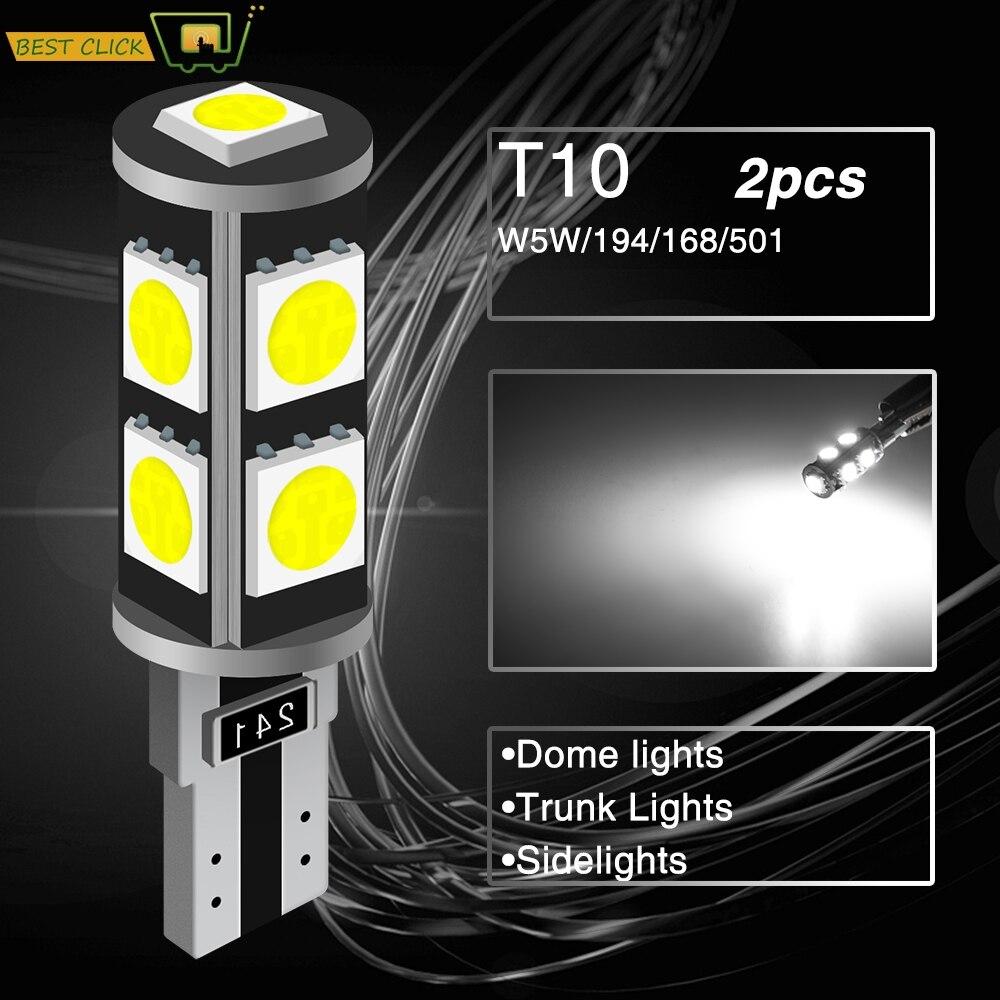 Xukey T10, luces Led sin errores para coche 501 168 194 W5W, bombillas de señal para Interior de cuña de coche para maletero o matrícula, 6000K, blanco