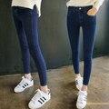 2016 Nuevas Mujeres de Cintura Alta Skinny Jeans Stretch Jeans Pantalones Lápiz de Gran Tamaño Resorte Femenino de Algodón Sexy Girl