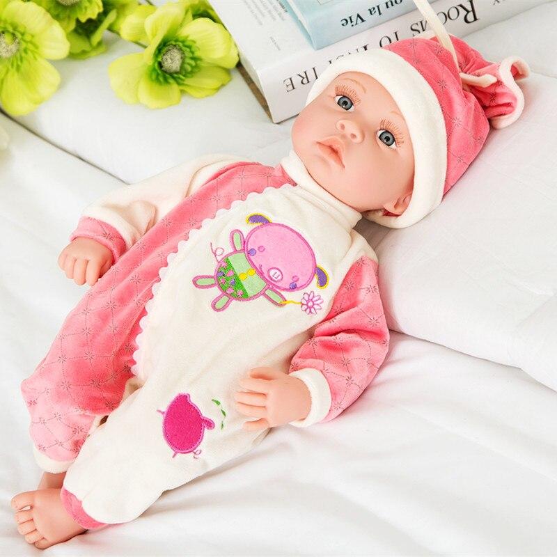 Reborn bébé poupée haute qualité vinyle membres et tissu corps nouveau-né bébé pour fille cadeau bébé filles jouets parlant son jouet