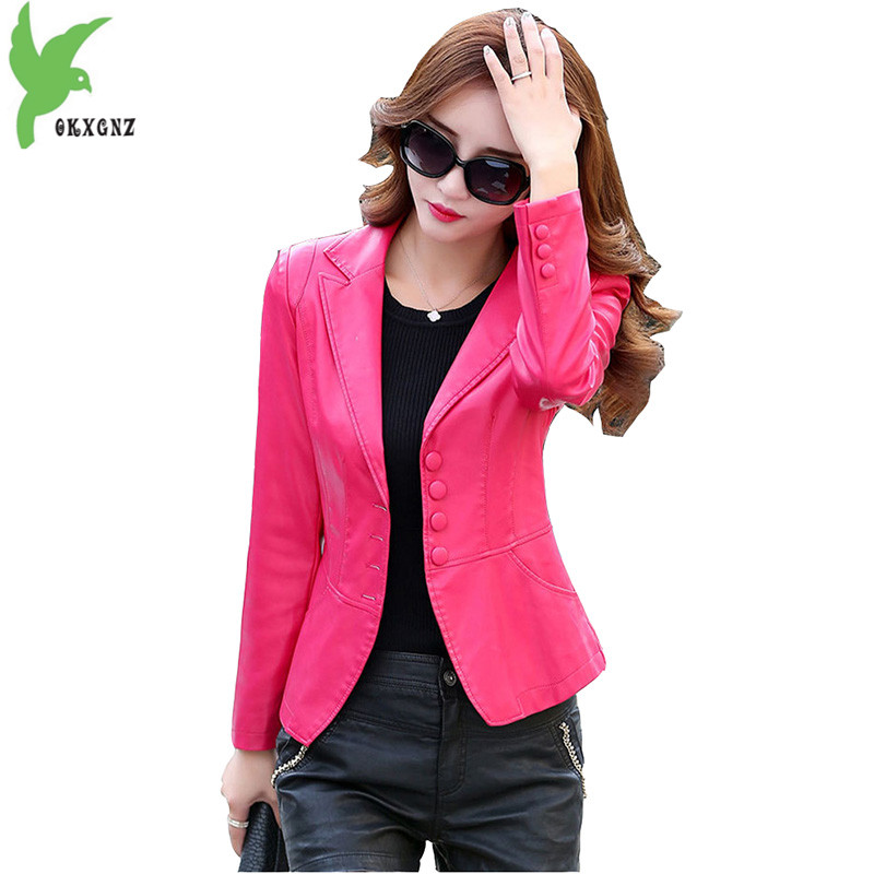 2018 Spring and Autumn Women   Leather   Short Jacket Slim Moto Biker Sheep skin clothes Plus size Small suit Windbreaker OKXGNZ1753