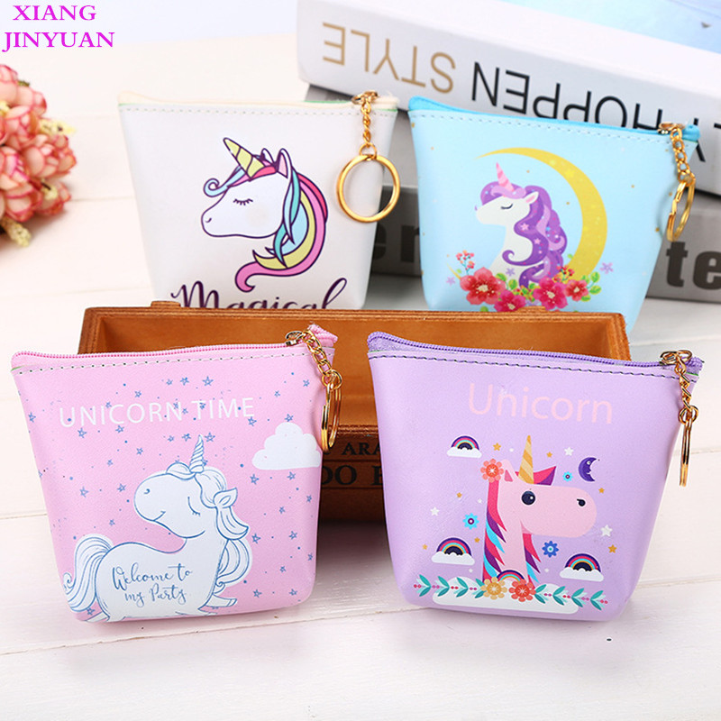 Unique Unicorn Zero Wallet and Purse 2018 Spring New Pink Coin Pouch Fashion Cartoon Key Holder Cute Kids Mini Small Zipper Bags kitavt75417unv10200 value kit advantus id badge holder chain avt75417 and universal small binder clips unv10200