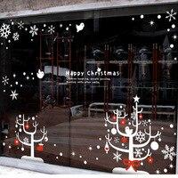 Boże narodzenie drzewa naklejki ścienne cytat happy christmas płatki śniegu drzewo ptaki naklejki ścienne wall art sklep szybę dekoracji domu