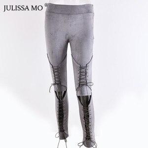 Image 5 - JULISSA MO Suede Bodycon Bandage Pants Women Autumn Winter Legging Sexy Slim Club Party Trousers Women Ladies Pencil Pants 2020