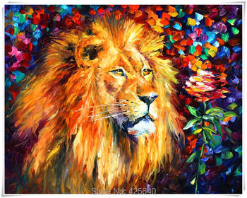 Lion  Art Pictures Palette Knife Home Decoration Oil painting Wall Pictures for living room Home Decor paints Wall art paint