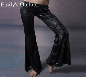 Image 3 - Belly Dance Tribal Fusion Women Cotton Garter Pants Stripe Side Slit Belly Dance Trousers M L Black White Maroon Free Shipping