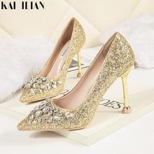 6616e0c6d Zapatos de mujer 2019 de verano tacones altos de gatito tacones dorados  bling paillette bombas fiesta boda zapato blanco diamant.