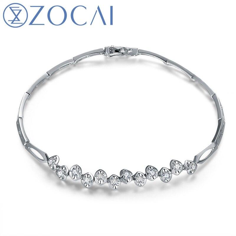 ZOCAI DESIGNER 0.48 CT certifié diamant BRACELET BRACELETS bijoux BRACLETS rond coupe 18 K or blanc S00008