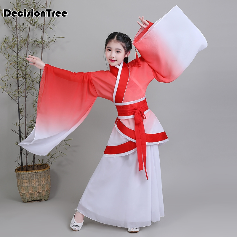 2019 new child traditional chinese clothing for girls hanfu chinese dress minority dance kids costumes princess dresses in Dresses from Mother Kids