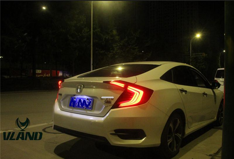 Free shipping for VLAND Car Taillamp For Honda for Civic 10th Gen All-LED Taillight with DRL+Brake+Signal Light for 2014-2017 free shipping vland factory for elantra led taillight 2012 2013 2014 2015 led light bar taillamp