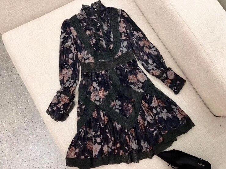 2019 woman long sleeve print silk dress beach dress
