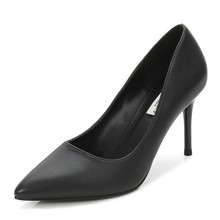 Dropshipping New Pointed Toe High Heels Sexy Genuine Sheepskin Leather Elegant Women Thin Heeled Party Office Pumps Shoes F0016 2018 new autumn women genuine leather shoes pointed toe dress pumps buckle strap sheepskin high heeled shoes fashion rubber sole