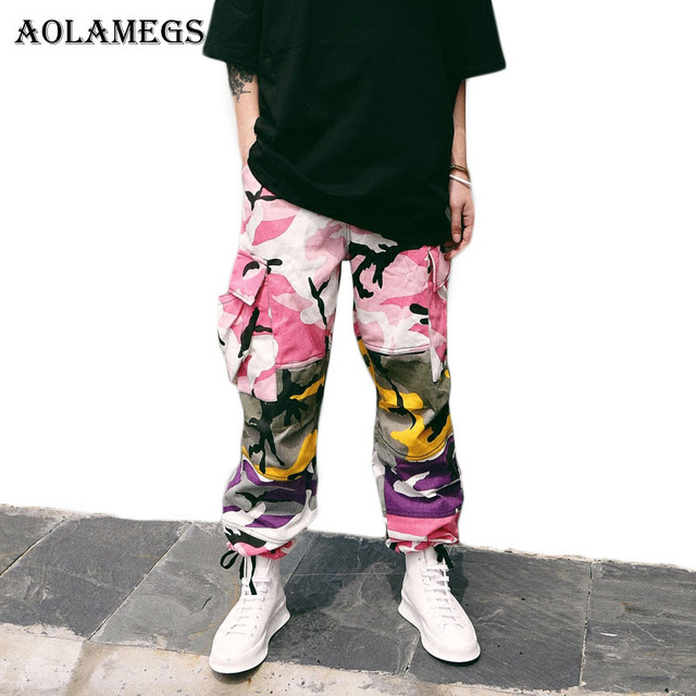 f90be46308be2 Aolamegs Cargo Pants Men Military Camouflage Hip Hop Pants Baggy Tactical  Trouser Multi Color Cotton Fashion Streetwear Joggers