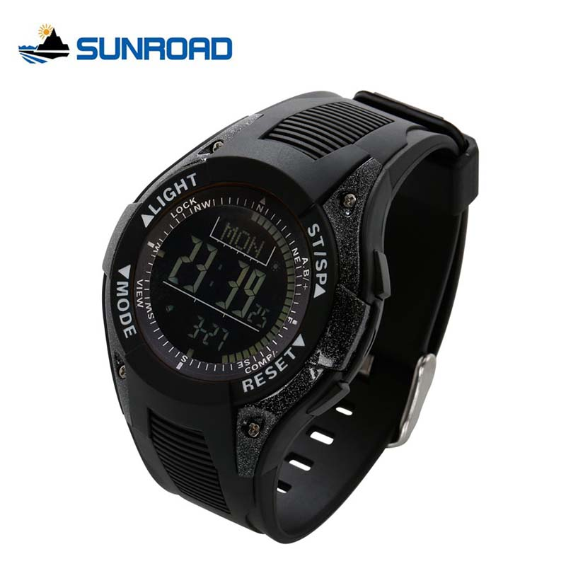 SUNROAD Fishing Watch Weather Forecast Multifunction Barometer Altimeter Thermometer Sports LCD Digital Display Watches FR8202 sunroad fx712b digital fishing barometer watch w altimeter thermometer weather forecast time