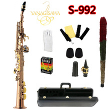 New S-992 YANAGISAWA High Quality Soprano Saxophone B Flat Gold Lacquer Professionally Musical Instruments Pearl Button Sax