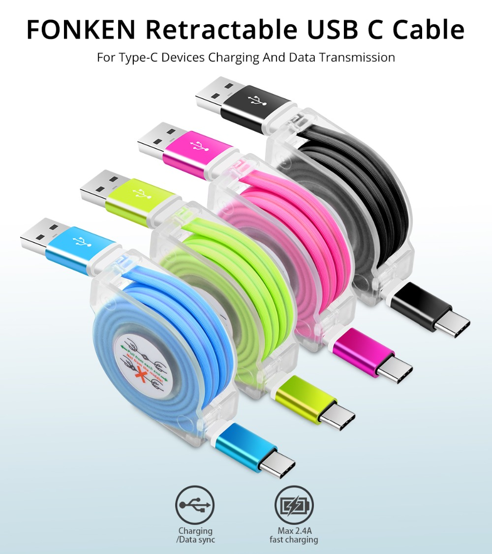 Fonken Retractable Type C Usb Cable 1m Portable Phone Wiring 01