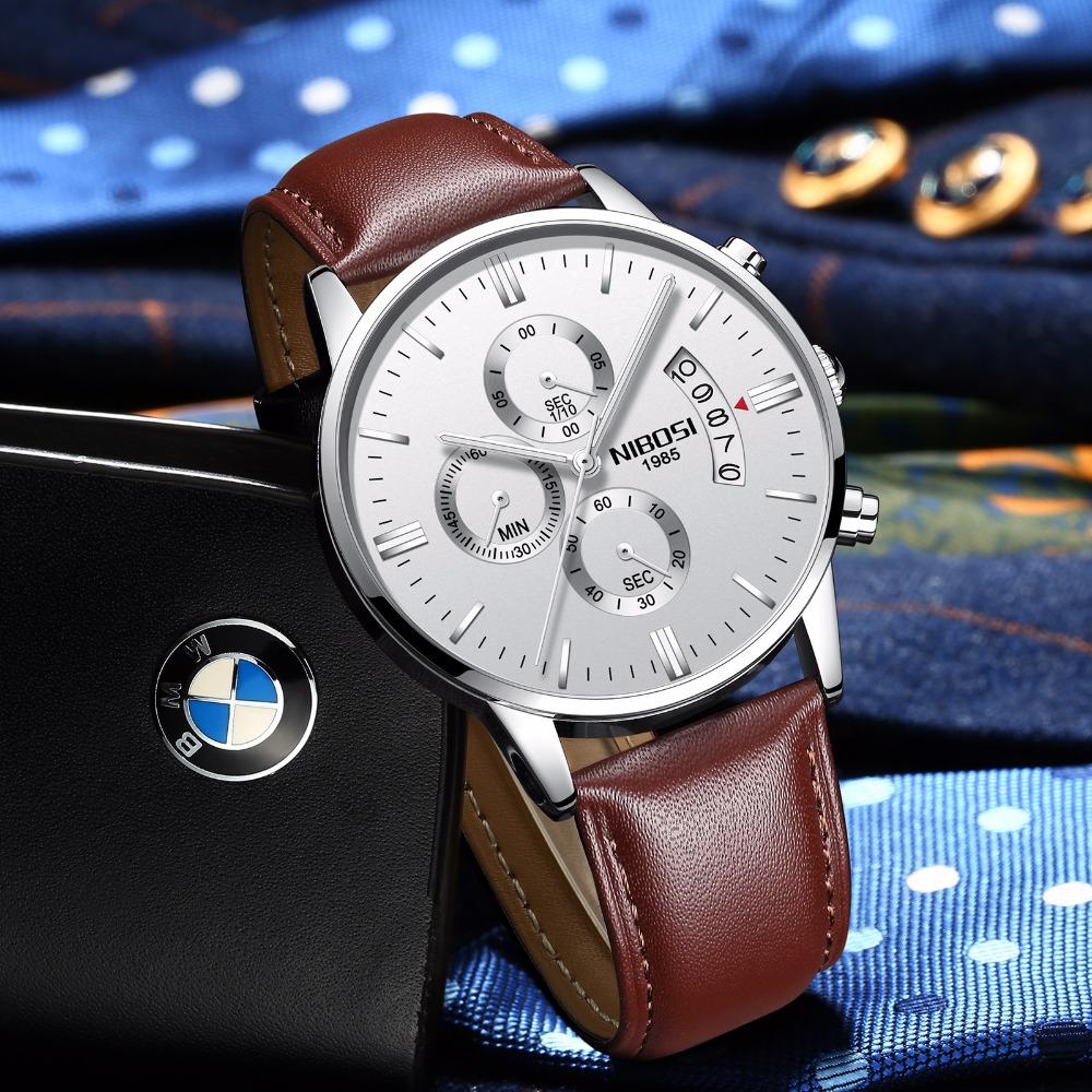 Relojes de hombre NIBOSI Relogio Masculino, relojes de pulsera de cuarzo de estilo informal de marca famosa de lujo para hombre, relojes de pulsera Saat 46