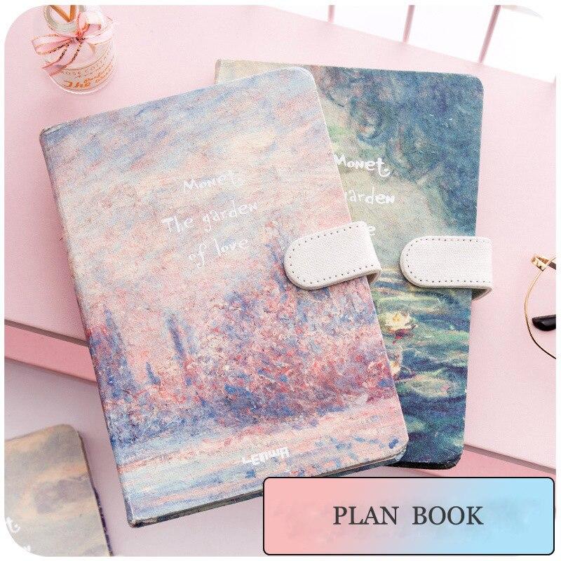 JIANWU pintura colorido nota libro de shell duro del cuaderno planificador kawaii libro Tapa dura diario Oficina escuela suministros