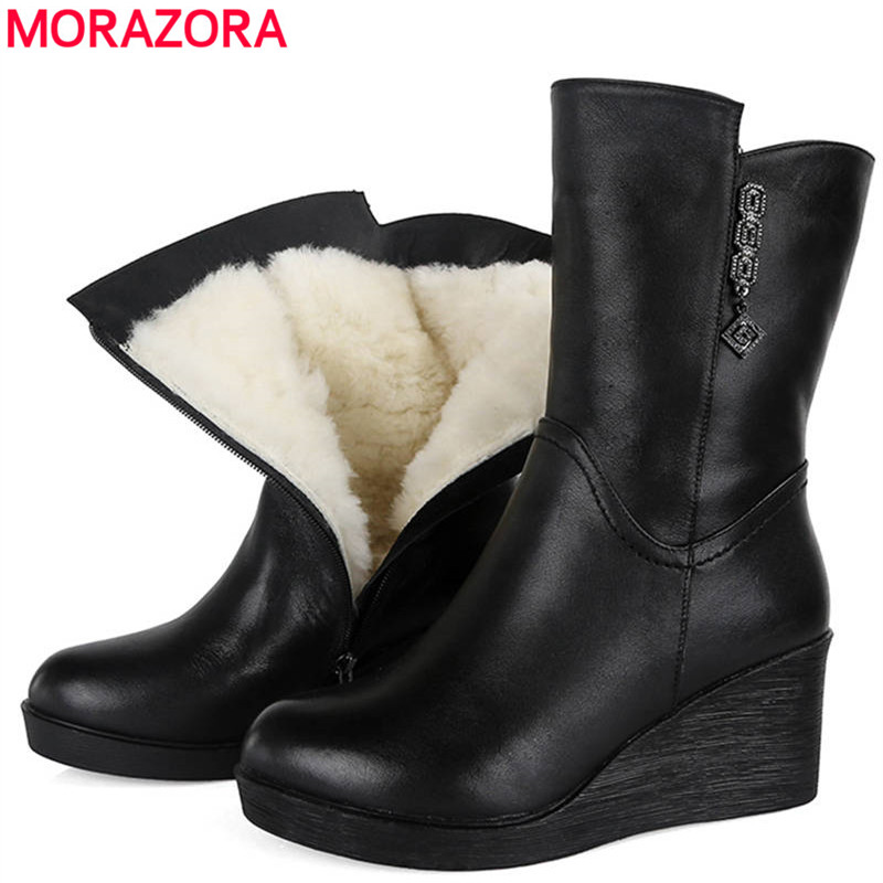 MORAZORA 2018 genuine leather ankle boots women keep warm natural wool winter snow boots comfortable fashion wedges shoes woman women boots 2017 fashion shoes woman genuine leather wedges ankle boots winter wool snow boots women shoes