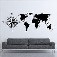 شخصية خلاقة البوصلة خريطة العالم ملصقات الفينيل غرفة المعيشة خلفية الجدار ملصق كبير الحجم diy خريطة