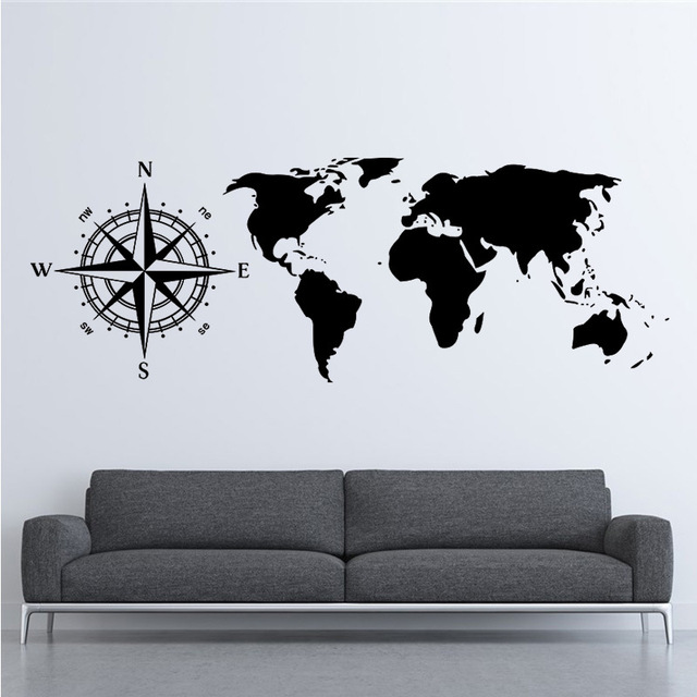 personalized creative compass stickers vinyl living room bedroom background world map wall sticker large size diy