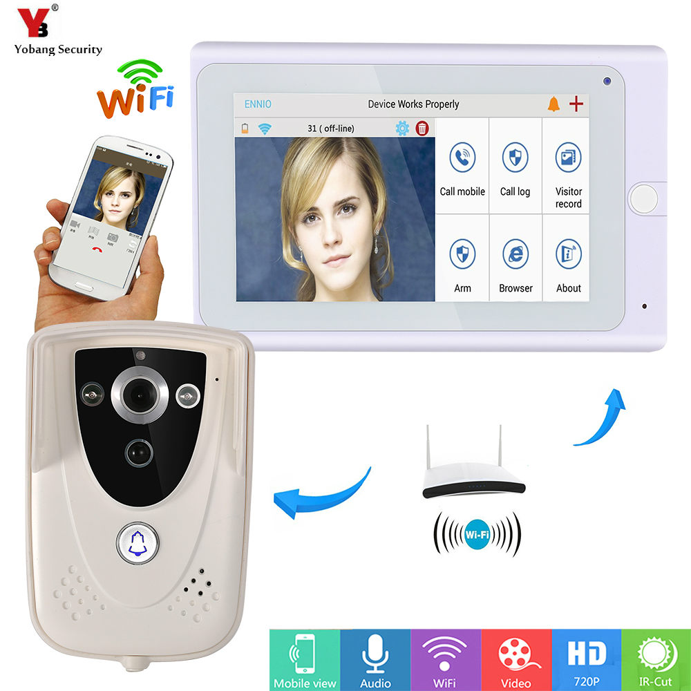Yobang Security 7inch Wireless/Wifi IP Video Door Phone Doorbell Intercom Entry System with ith 1 Monitor 1 Outdoor camera PIR