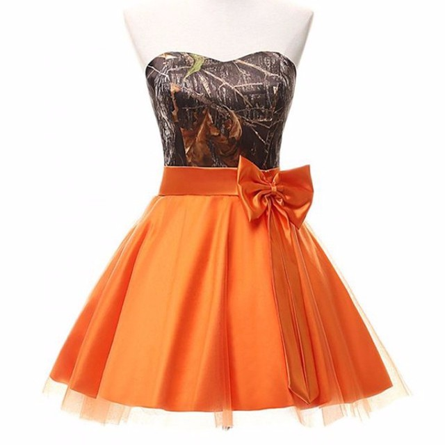strapless hunter orange camo bridesmaid dresses short 2017 size 0 ...