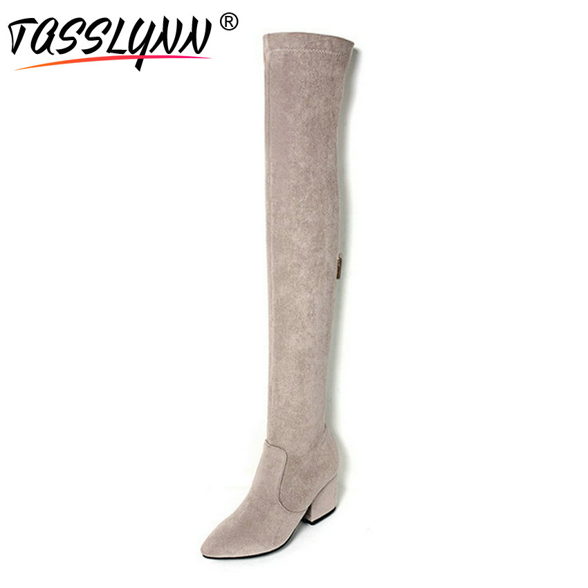 TASSLYNN 2018 Sexy Women Boots Pointed Toe High Heels Over The Knee Boots Winter Shoes Women Gray Autumn Wedding Shoes Size 42