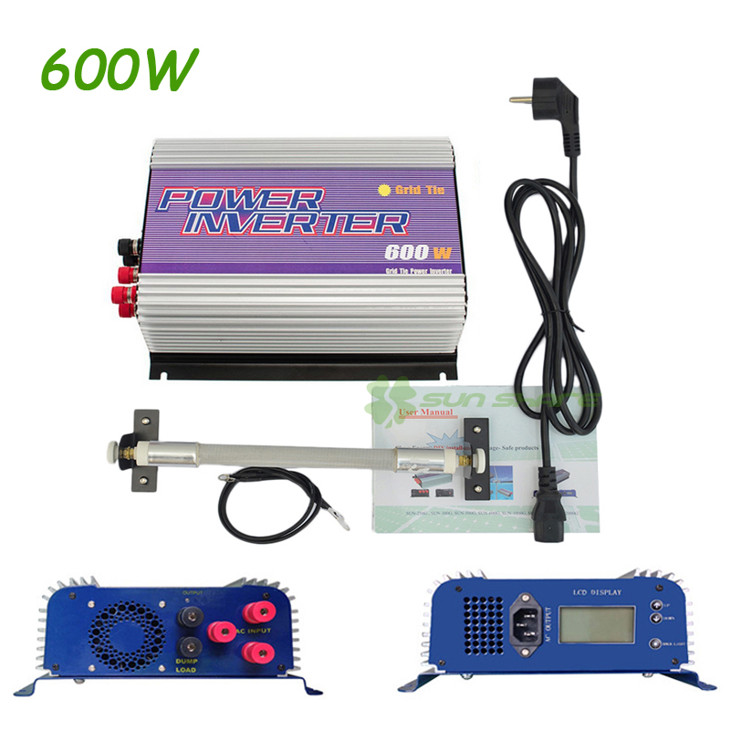 Free shipping! 600W Wind Grid Tie Inverter with LCD data For 12V/24V (AC Wind Turbine),90-260VAC ,No Need Controller and Battery wind power generator 400w for land and marine 12v 24v wind turbine wind controller 600w off grid pure sine wave inverter