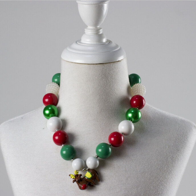 2014 Latest Design Cheap Wholesale Valentines Kids Gift Jewelry Chunky Bead Necklace For Girls Christmas Gift