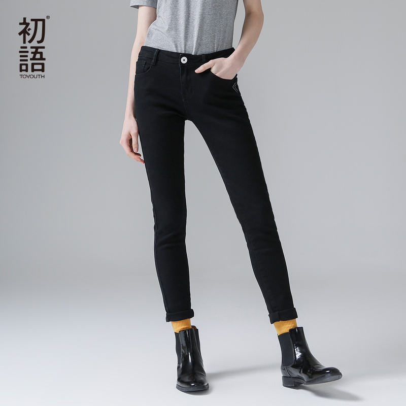 Toyouth Autumn New Arrival Women's   Jeans   Slim Solid Black Pencil Pants Female Full Length Fashion   Jeans