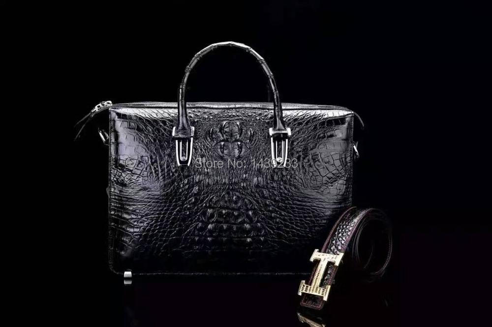 100% Genuine Crocodile Alligator Leather Skin Briefcase Men Laptop Business Bag Discount Sales Promotion Christmas Gift Black