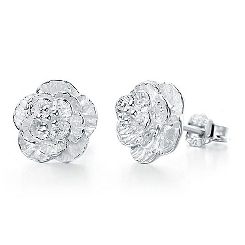 Drop Shipping Cherry Blossom Sakura Silver Stud Earrings For Women Earring Female In From Jewelry Accessories On