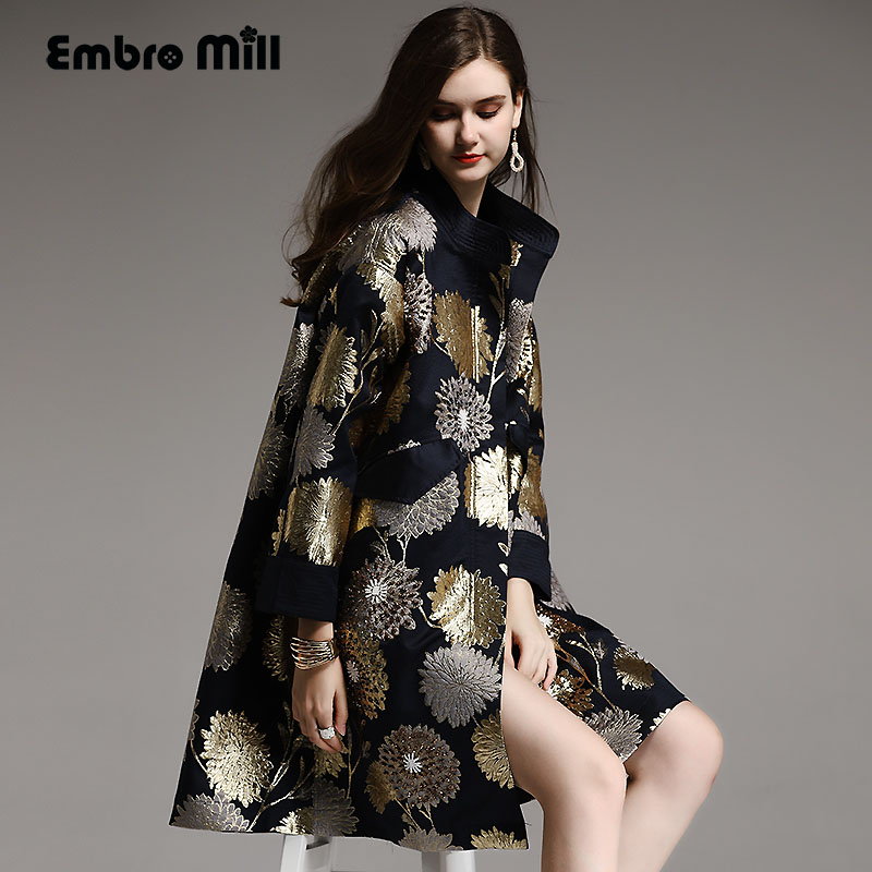Vintage royal spring autumn coat woman elegant lady loose black/blue Chinese style floral beading   trench   coat female M-XXL