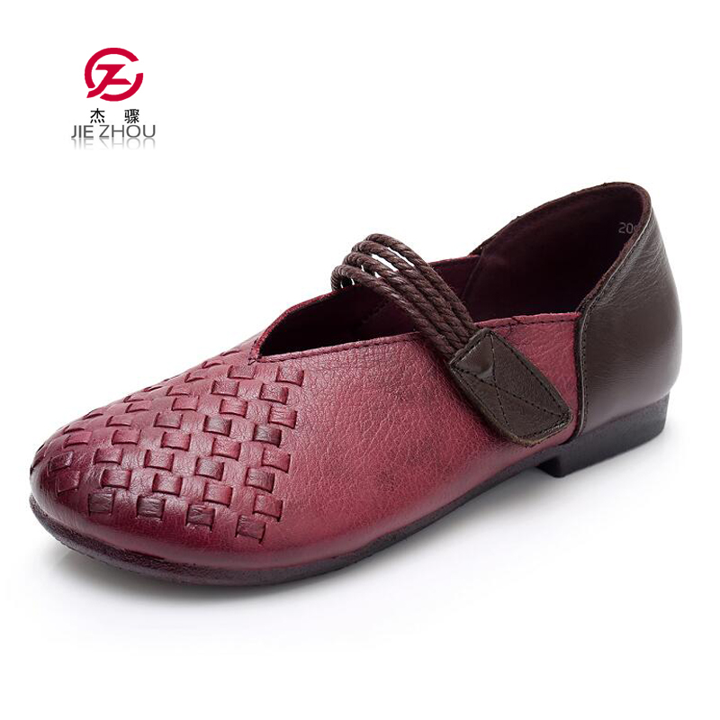 New Women Flats Soft bottom Handmade Fashion Shoes Woman Genuine Leather Comfortable Loafers Retro Shallow Casual