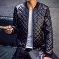 Кожаная куртка мужчины весте cuir homme мягкие ткани высокое качество стенд воротник тонкий мода chaqueta cuero хомбре блузон cuir homme