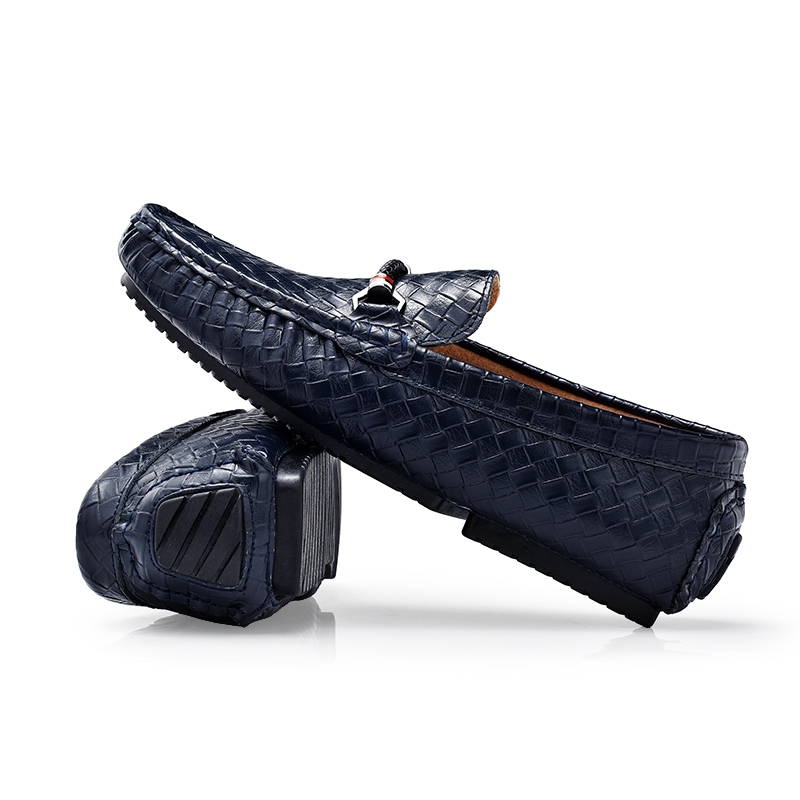 Le Noir Hommes Se Sur Cuir Luxe lan Se Conduite Se Nouveauté Hei Décontracté zong Artificiel Chaussures Glissement Mocassins Bleu Marche Créateur De 8fdAwTOq