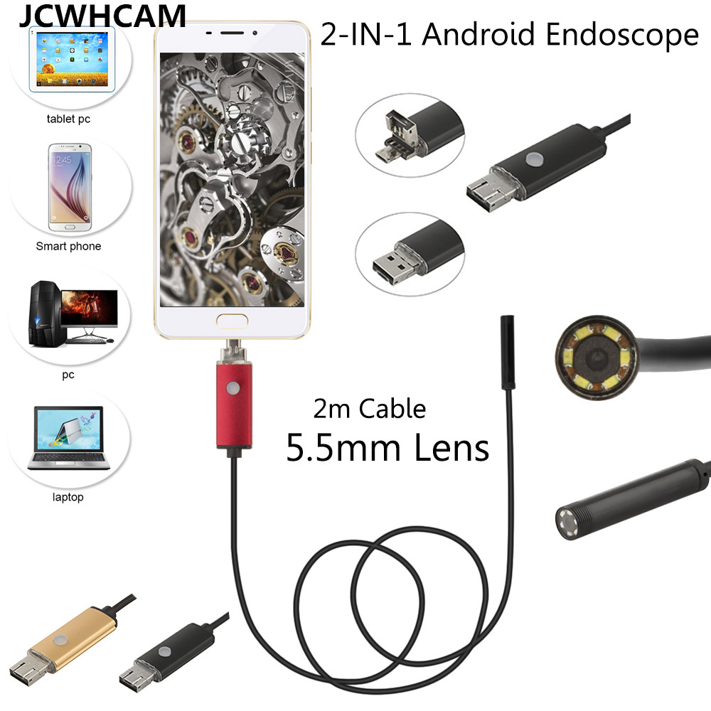 Android USB Endoscope Camera 5.5mm Lens Snake Tube 2M Mini USB Borescope Inspection Camera for PC Waterproof Endoscopio Cam gakaki 1 2 3 5 5m 8mm universal wifi android endoscope inspection usb borescope tube snake mini camera micro cam for iphone pc