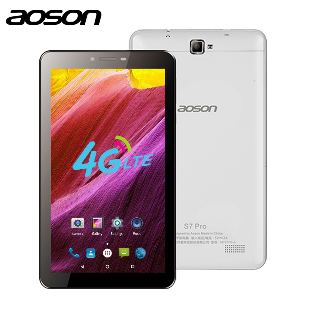 Aoson S7 PRO 7 polegada 4G LTE CARTÃO SIM tablet 8 GB ROM HD IPS Tela Android 6.0 mobile Phone Call Tablets Quad Core Dual Camera GPS