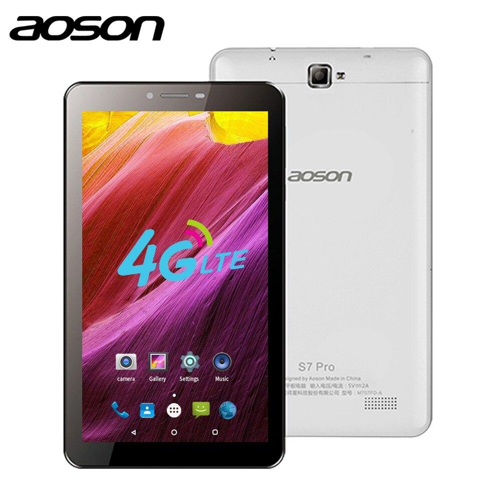 Aoson S7 PRO 7 pollice 4G LTE SIM CARD le compresse android 8 GB ROM HD IPS Dello Schermo di Android 6.0 mobile Phone Call Tablets Quad nucleo