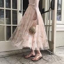 2017 Summer Sequins Embroidery High Waist Pleated Skirt Long Mesh Puff Skirt Women