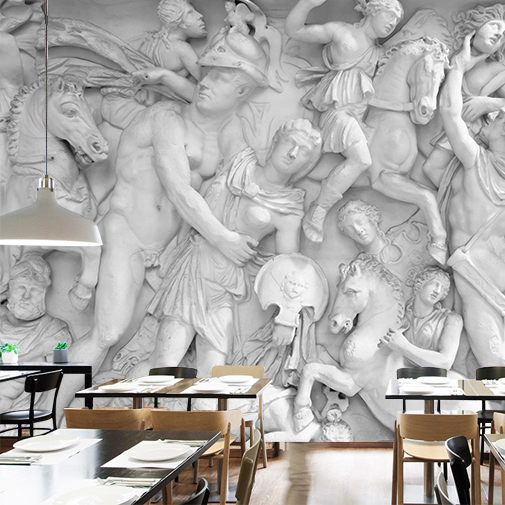 3D photo wallpaper Gypsum relief European style figure mural Cafe lounge bar hotel KTV bedroom backdroop white wallpaper mural