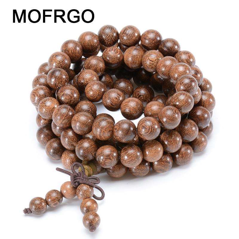 MOFRGO Natural Golden Bamboo Beads Wrap Bracelet Men Tibetan Buddhism Lucky Charm Bracelets For Women And Men Wooden Jewelry