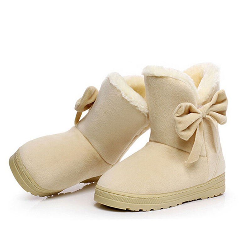 2018 New Winter Fashion Female footwear Women Bow tie Short plush Snow Boots Woman Warm Ankle Boots Casual Shoes